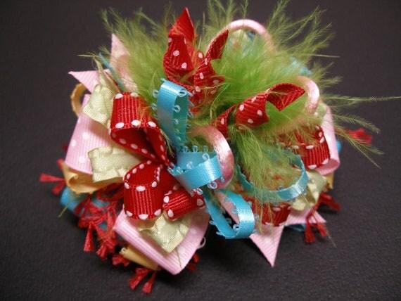 Over the Top Funky & Fun Birthday Party Hair Bow Marabou Boutique Unique Toddler Girl Grosgrain Handmade