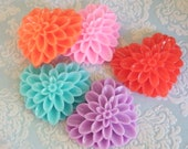 5pcs Flower Petal Love Heart Cabochons - Australia