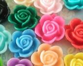 19pcs Assorted Colour Rose with Small Leaf Cabochon - Australia