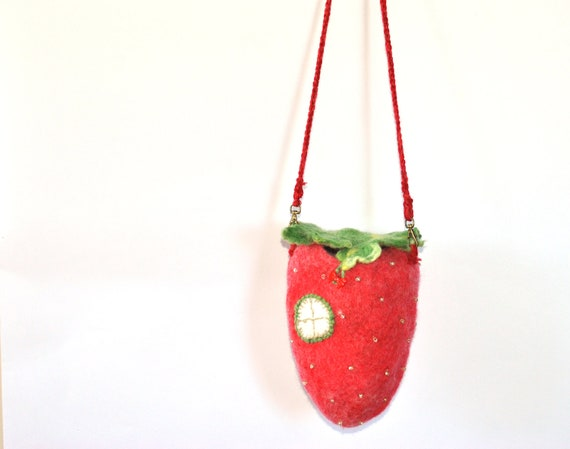 Felted fairy / Gnome home, red and green strawberry House with window. ecofrendly felted wool bag