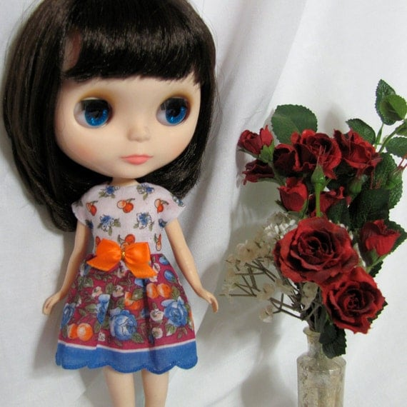 Pretty Flowers and Cherries Handkerchief Dress with Maroon & mid-Blue for your BlytheStar