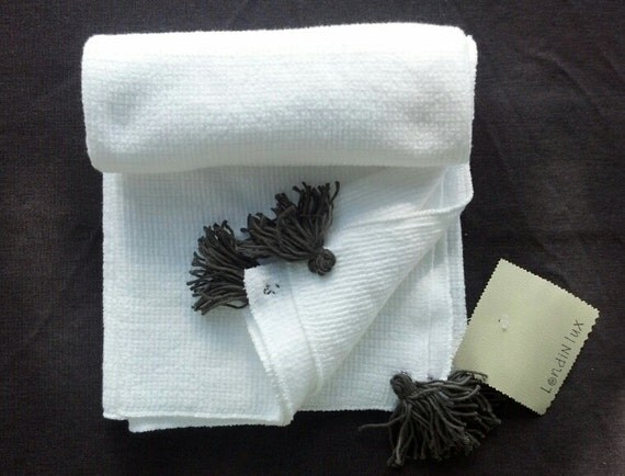 White baby boy blanket with dark gray tassles. Ready to ship (Londin Lux Brand)