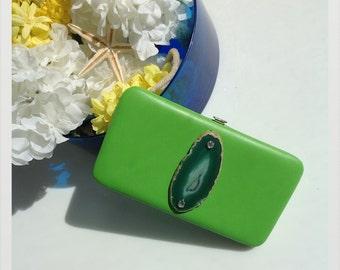 Patent green agate Jeweled clutch purse