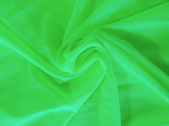 Lime green sheer 4-way stretch Lycra mesh net fabric, 1 3/8 yards
