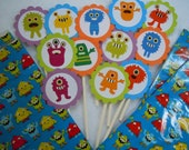 Little Monster Cupcake toppers 12 pack see also matching Party favor tags Banners