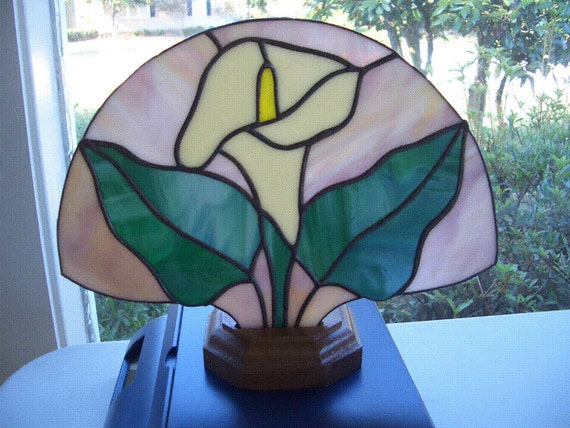 Calla Lily Stained Glass Fan Lamp Accent Lamp Night Light