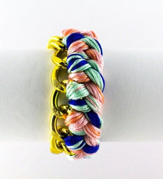 braided curb link bracelet woven curb chain bracelet pastel pink mint blue SALE