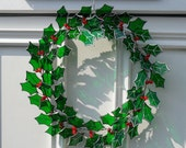 Christmas Holly Wreath, Stained Glass Holly Wreath, Christmas Wreath, 3D Christmas Holly Decoration - Made To Order