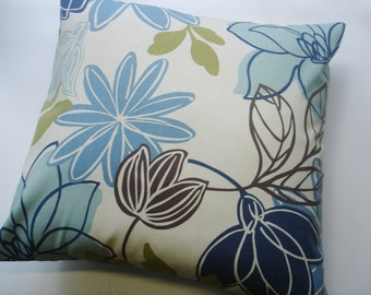 BLUE THROW PILLOW,  Blue Decorative Pillow Covers, Navy Pillows ,Throw Pillow Covers 16 18 20x20 Sizes Floral Home Decor, Decorative Pillow
