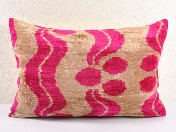 Decorative pillow cover - throw pillow - Velvet Ikat Pillow - hand woven pillow lp13