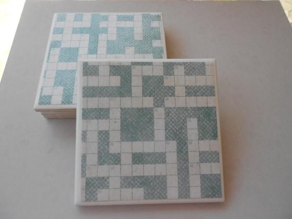 Crossword Ceramic Coasters Set of 4