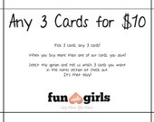 Funny Cards- Any 3 cards - Your Choice - super awesome