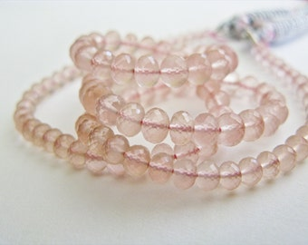 Rose Quartz, Micro Faceted Rondelles, AAA, 4-5.5mm, 8 inches