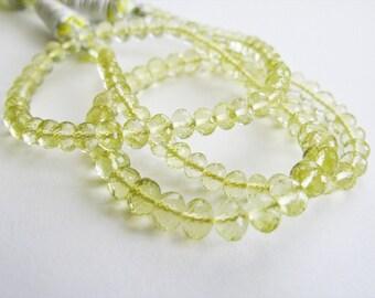 Lemon Quartz Beads, Lemon Quartz Rondelles, AAA, Micro Faceted, 4-6.5mm, 16 inches