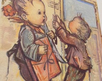 Antique Children's Print- Bukac Prints - Vintage Children's Prints - 1940's- 1960's Art- Nursery Decor