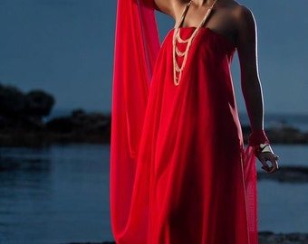 Red Grecian Goddess Gown...other colors:black, white, berry, green