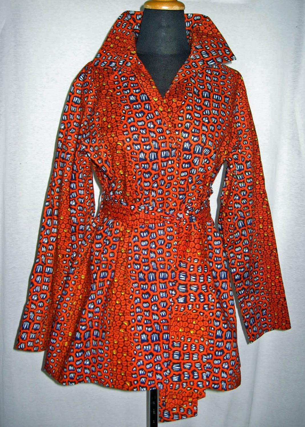 Tribal African Batik Wax Print Trench Jacket Or By