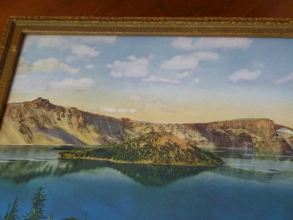 REDUCED Antique Framed Souvenir Photo of Crater Lake, Oregon from 1930s/40s - FREE US Shipping