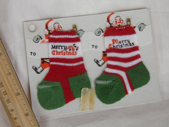 Christmas Stockings Ornament or Gift Topper with Santa Gift Tags  -  Original Packaging