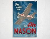 24x36 - Custom Retro Airplane Poster - Printable Digital File