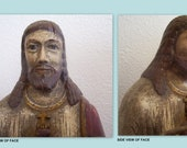 Antique Vintage Hand Carved Wooden Santos Statue of Jesus Over 100 Years Old from the Phillipines Early 1900s