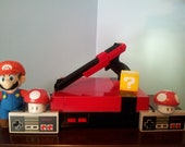 Nintendo Entertainment System-Custom Painted-Red&Black-Matching Zapper Gun-With Mario/DuckHunt/Track Meet Game-FREE Shipping To USA
