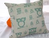 Owl Print Pillow Cover Arrows Tan and Green