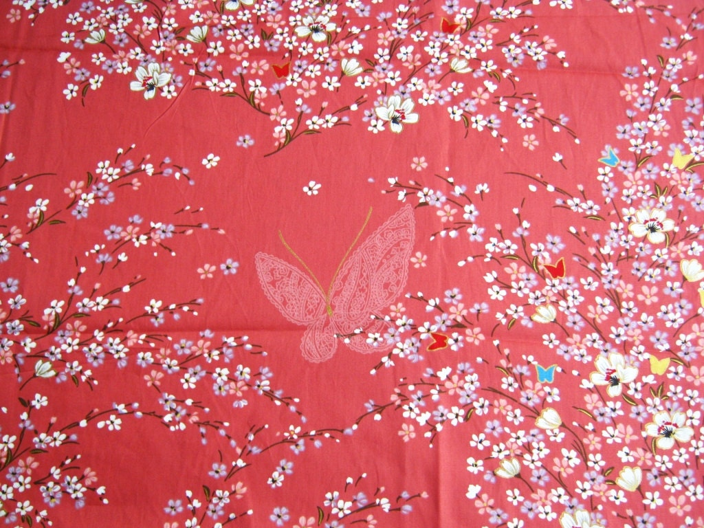Japanese Kimono Cotton Fabric Lovely Pink White Blue Sweet