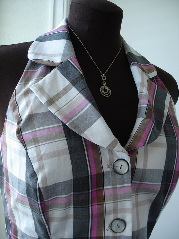 70's Style Mod Squad Plaid Halter Top Button Down Shirt
