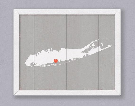 LONG ISLAND NY Rustic Home Decor 16x20 Handmade Personalized