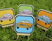 Ford Mustang Vintage Car Coasters - Set of 4