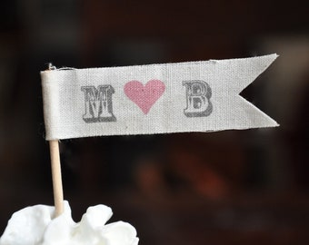 Personalized cupcake flag toppers - fabric monogrammed heart initials