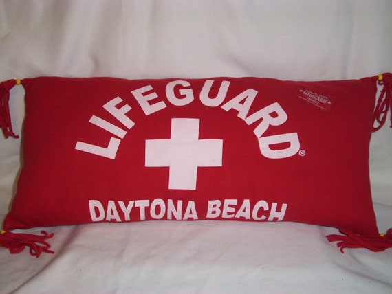 Handmade DECORATIVE Recyled Daytona Beach Pillow in Red/  Beach Lovers Delightful Keepsake / Official Life Guard Up Cycled  Sweatshirt