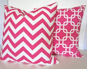 Sale THROW PILLOWS SET Of 2 - 18x18 Decorative Throw Pillows Pink 18 x 18 Throw Pillow Covers Home and Living Housewares Fabric Front & Back