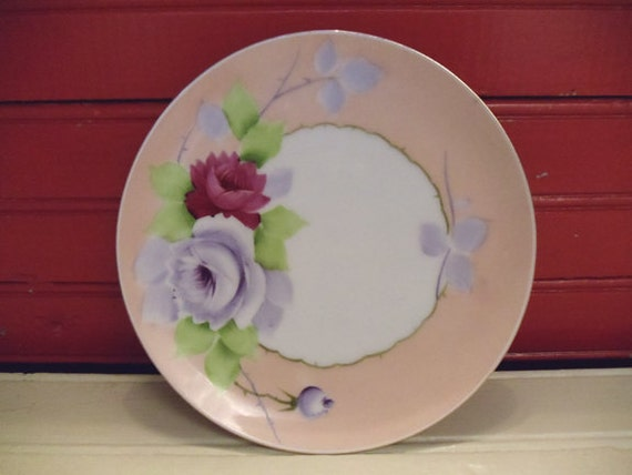Pretty Pink Vintage Meito Japan Plate Dish Roses