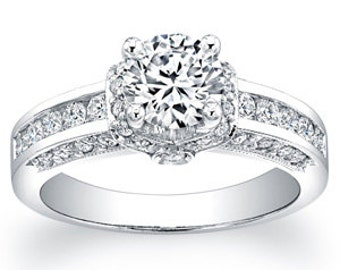Ladies platinum pave and channel diamond engagement ring 0.66 ctw G-VS2 wih 1ct Round White Sapphire Center