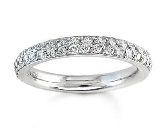Ladies Platinum double row pave diamond wedding band 0.75 ctw G-VS2 diamonds