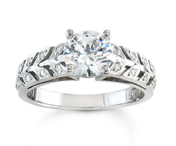 Ladies 14kt white gold antique engagement ring 0.10 ctw G-VS2 diamonds with 1ct Round White sapphire center