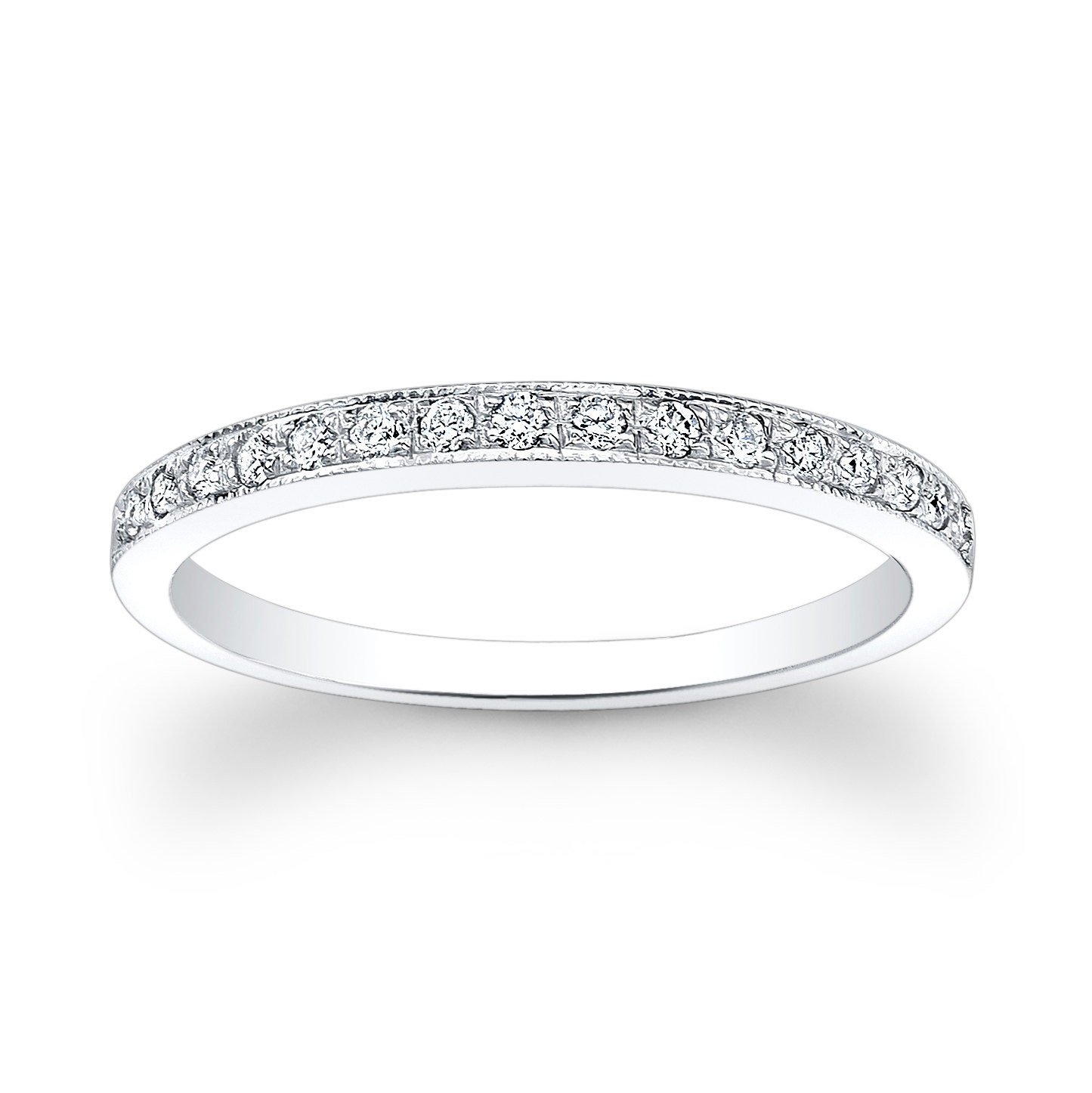 Pavé Bands: Ladies 18kt Thin Pave Diamond Wedding Band 0.15 Ctw G-VS2