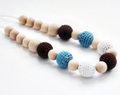 SALE: crochet necklace / turquoise / brown / white / crochet jewelry / accessory / mom necklace
