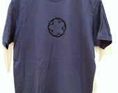 """Indigo Blue """"Ride"""" T-Shirt With Bicycle Chainring - size Medium - Men's and/or Unisex"""