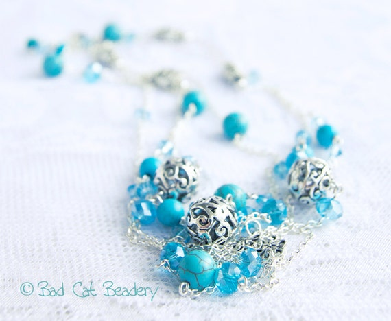 Turquoise Necklace Chic Boho Bead long Blue Turquoise, Silver, Blue Crystal the Bad Cat Beadery