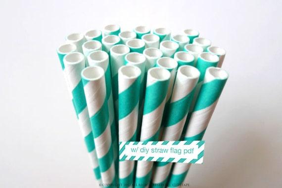 25 Aqua Paper Straws Party Aqua Straws w/ DIY Striped Straws Flag PDF - Aqua Wedding, Aqua Blue Wedding Decorations