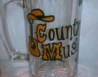 Hand Painted 36oz Country Music Beer Mug