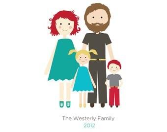 Family Portrait, Custom Portrait Family of Four, Mother's Day