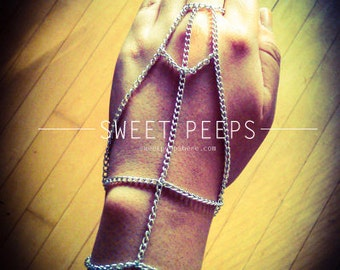 Silver Chain Skeleton Inspired Hand Harness/ Slave Bracelet