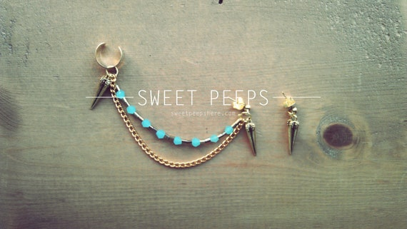 Gold Ear Cuff with Gold Spike and Beautiful Blue Crystals and BONUS Spiked Earring
