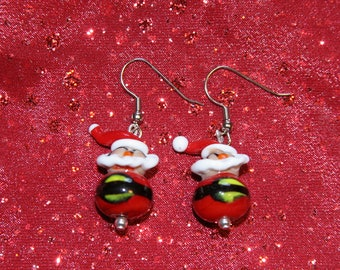 Glass Santa Claus Earrings