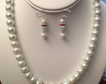 Pearl and Swarovski Squares Necklace and Earring Set