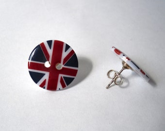 Union Jack Button Earrings, British Red, White and Blue, British Flag Stud Earrings